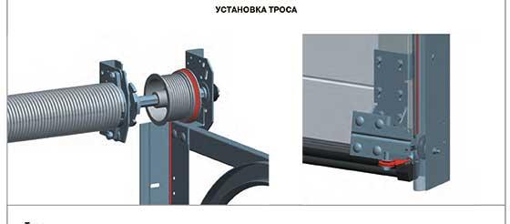 Запасные части для секционных ворот - трос.
